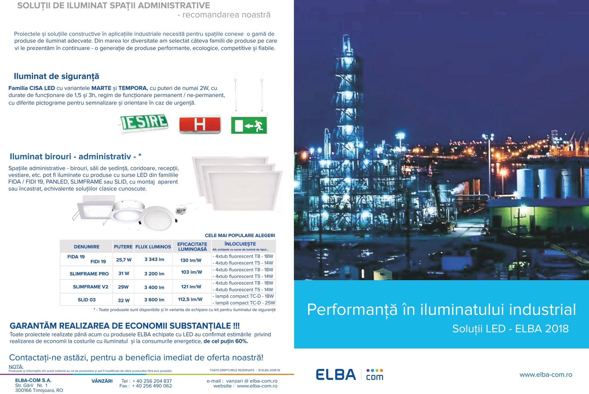 Noua brosura Solutii LED - ELBA 2018 - Performanta in iluminatul industrial